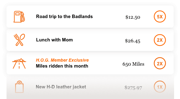 Examples are Road trip to the Badlands - 5x's points; Lunch with Mom -2x's points and Hog member exclusive is Miles ridden this month - 2x's points.