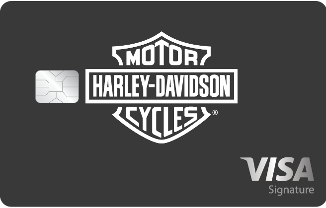 Heritage: Matte black card, glossy white Harley-Davidson Bar and Shield